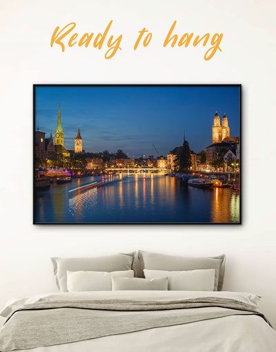 Framed Zurich Wall Art Canvas - City Skyline Wall Art Cityscape framed canvas Living Room Office Wall Art