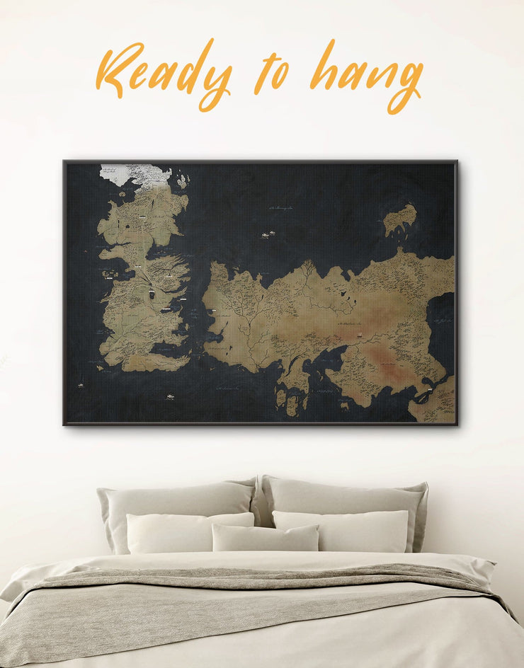 Game of Thrones Framed Map Wall Art Canvas - bedroom Black black framed wall art Brown brown framed wall art