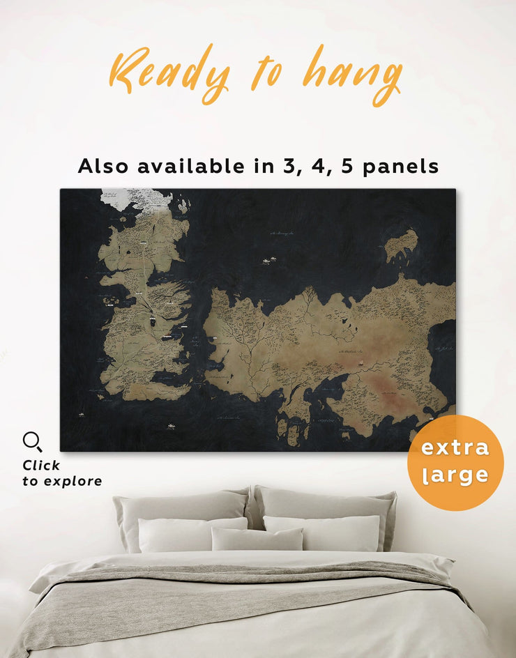Game of Thrones Westeros Map Wall Art Canvas Print - 1 panel bedroom Black Brown Game of Thrones