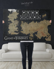 Game of Thrones Westeros Map with Houses Sigil Wall Art Canvas Print