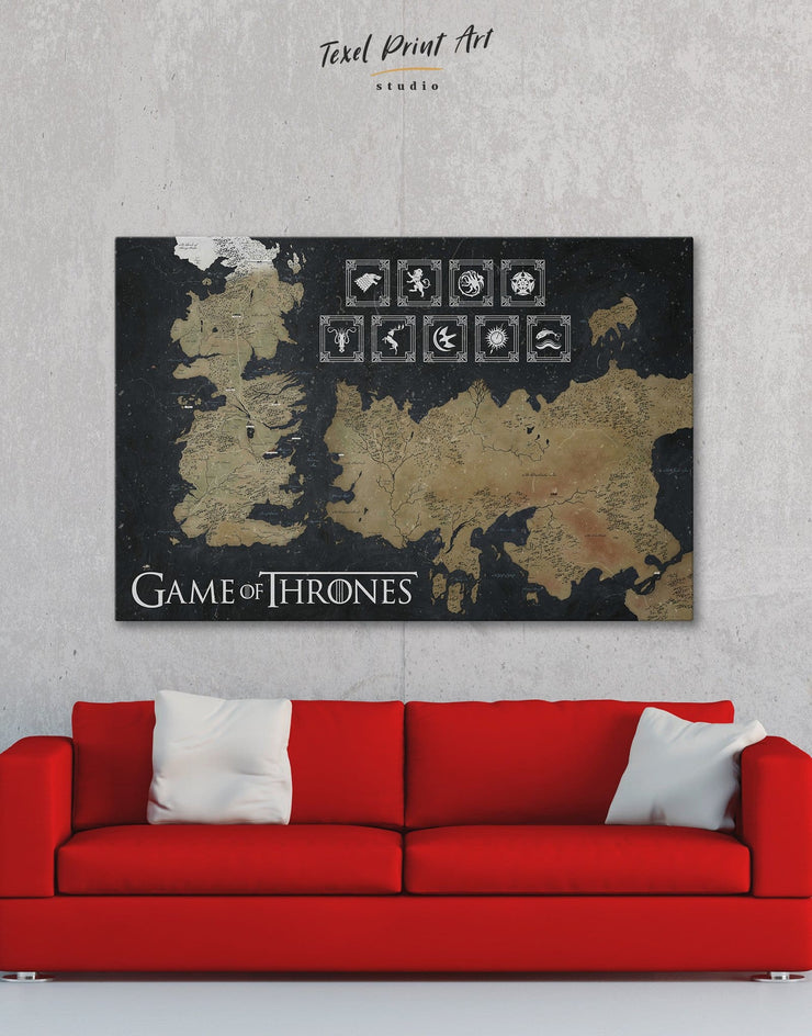 picture relating to Free Printable Map of Westeros known as Video game of Thrones Westeros Map with Households Sigil Wall Artwork Canvas Print