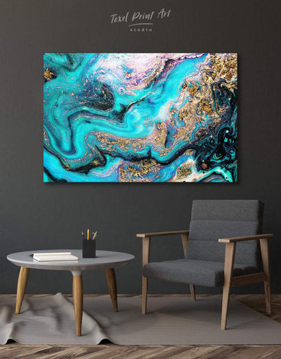 Geode Wall Art Canvas Print - 1 panel Abstract bedroom blue blue and white