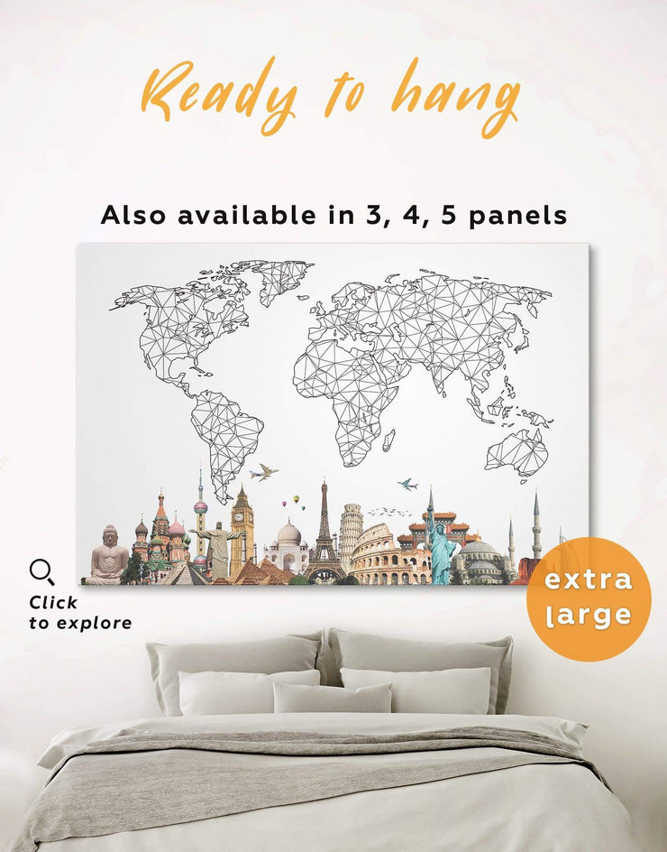 Geometric World Map Wall Art Canvas Print - 1 panel Abstract bedroom Black and white world map Dining room