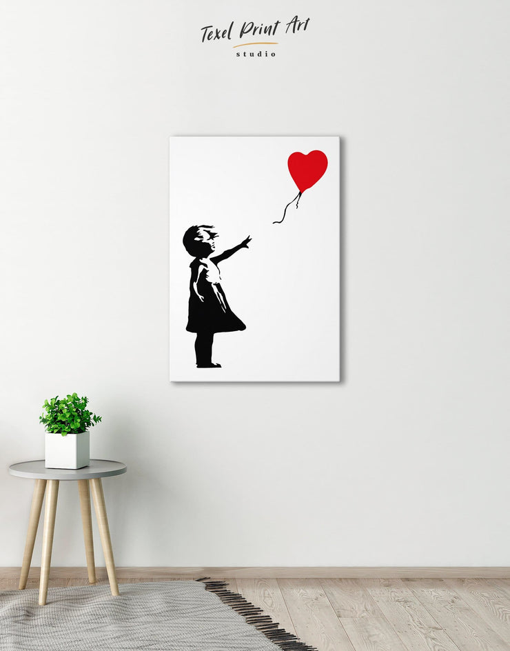 Girl with Balloon by Banksy Wall Art Canvas Print - 1 panel Banksy Banksy wall art bedroom Black