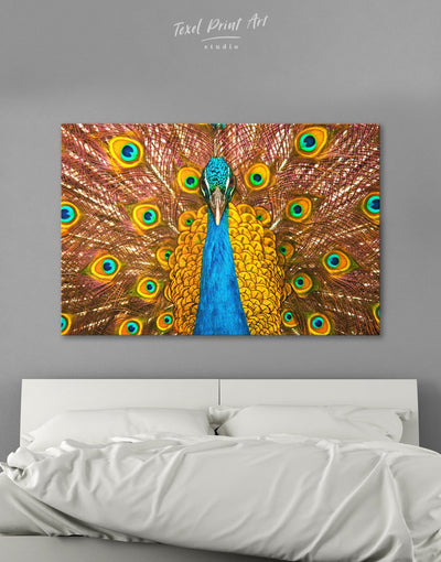 Gold Peacock Wall Art Canvas Print - 1 panel Animal bedroom bird wall art Dining room