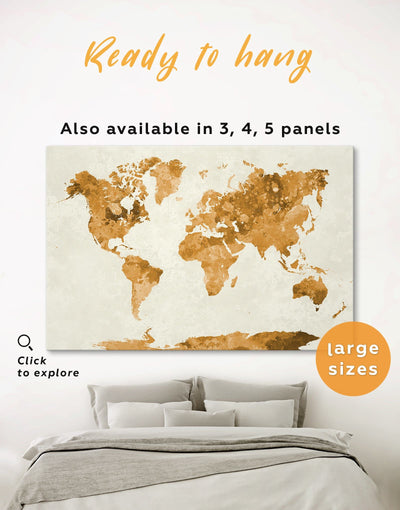 Gold World Map Large Wall Art Canvas Print - 1 panel Abstract Map Gilded world map wall art Gold gold world map