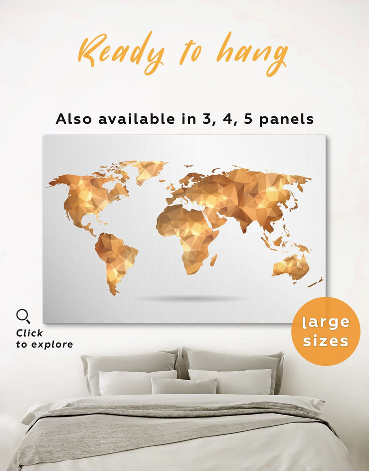 Gold World Map Wall Art Canvas Print - 1 panel Abstract map bedroom Geometric geometric wall art