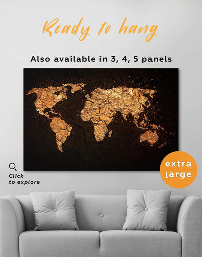 Golden Map Wall Art Canvas Print - 1 panel Abstract map bedroom black black and gold wall art