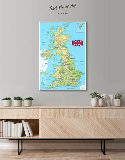 Great Britain Push Pin Map Wall Art Canvas Print - 1 panel Blue blue and green wall art corkboard Country Map