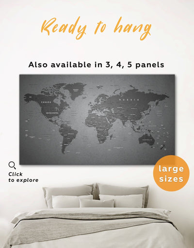 Grey World Map Wall Art Canvas Print - 1 panel bedroom Contemporary contemporary wall art corkboard