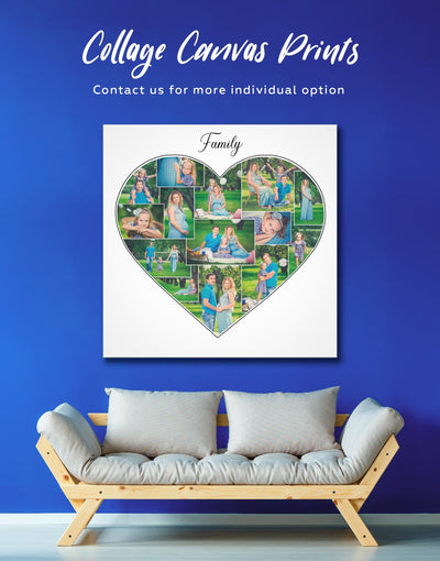 Heart Family Photo Collage Wall Art Canvas Print - 1 panel bedroom Family Living Room Photography