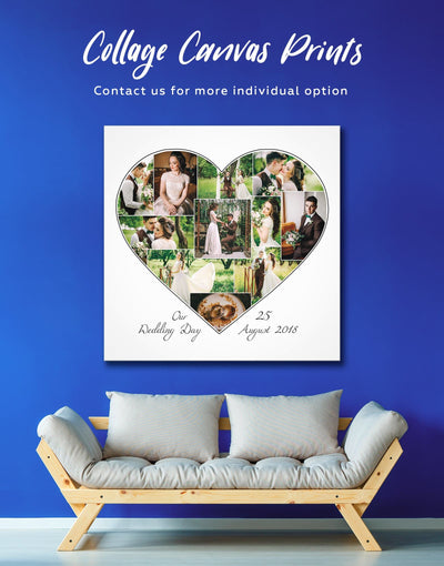 Heart Photo Collage Wall Art Canvas Print - 1 panel bedroom Family Living Room personalized wall art for couples