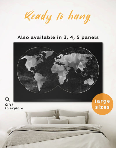 Hemisphere Map Black Wall Art Canvas Print - 1 panel Abstract map abstract world map wall art bedroom Black