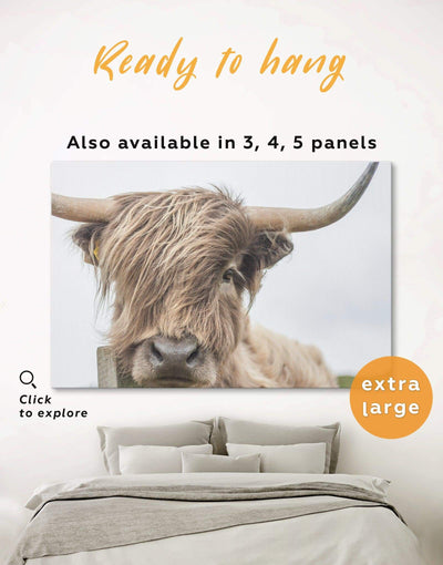 Highland Cow Wall Art Canvas Print - 1 panel Animal bedroom cow canvas wall art Dining room