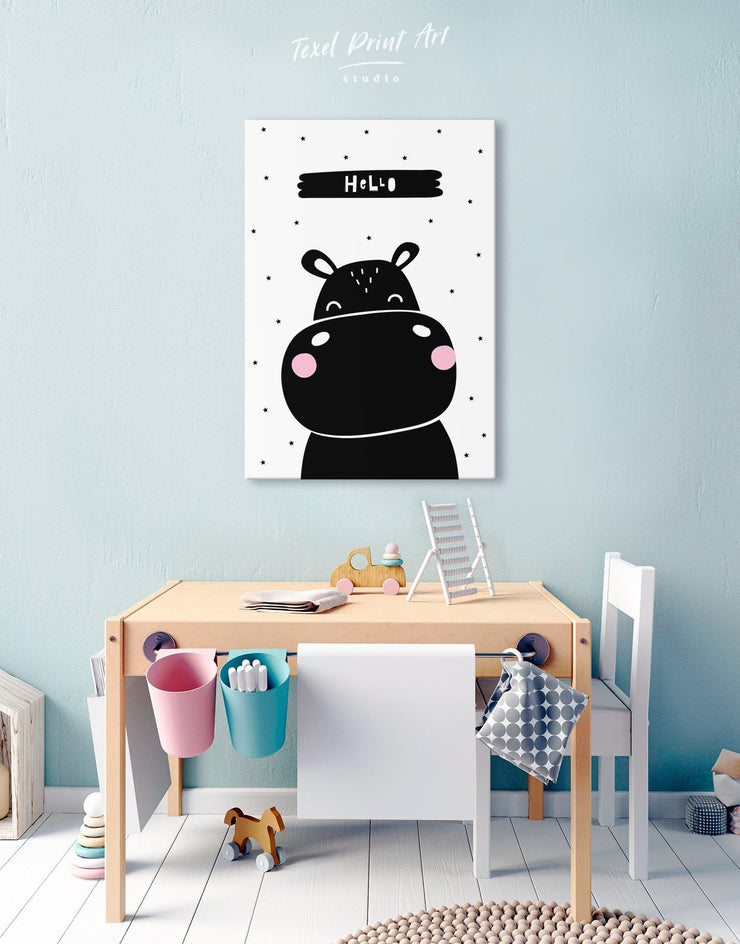Hippo Nursery Decor Canvas - Canvas Wall Art 1 panel black Kids room kids wall art Nursery