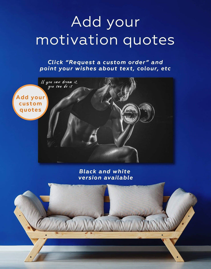 Home Gym Wall Art Canvas Print - 1 panel Home Gym inspirational wall art Living Room living room wall art