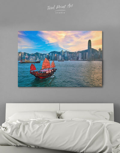 Hong Kong Skyline Wall Art Canvas - Canvas Wall Art 1 panel bedroom City Skyline Wall Art Cityscape Hallway