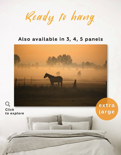 Horse on Pasture Wall Art Canvas Print - 1 panel Animal Animals Brown Farmhouse