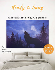 Howling Wolf at Night Wall Art Canvas Print