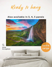 Iceland Waterfall Wall Art Canvas Print