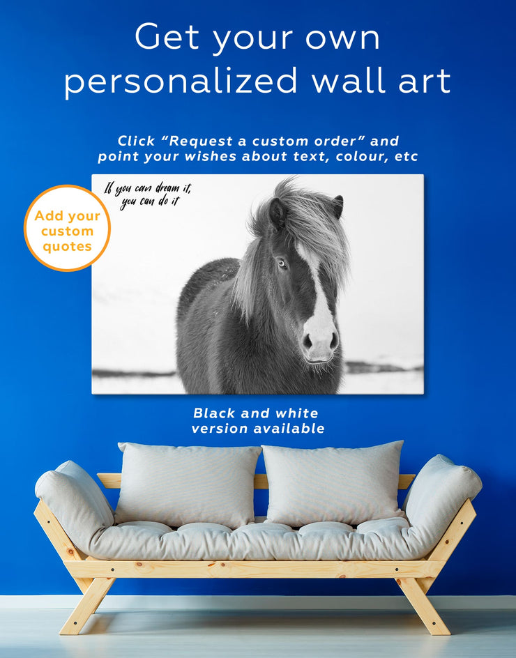 Icelandic Horse Wall Art Canvas Print - 1 panel Animal Animals bedroom brown