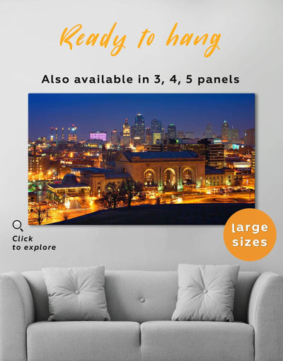 Kansas City Skyline Canvas Wall Art - Canvas Wall Art 1 panel