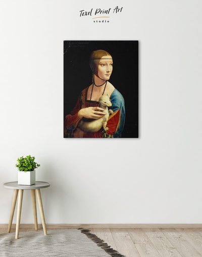 Lady with an Ermine by Leonardo da Vinci Wall Art Canvas Print - Canvas Wall Art 1 panel bedroom Hallway Leonardo da Vinci Living Room