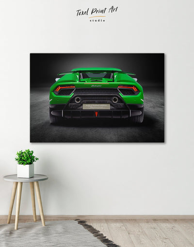 Lamborghini Huracan Performante Wall Art Canvas Print - 1 panel bachelor pad Car garage wall art Green