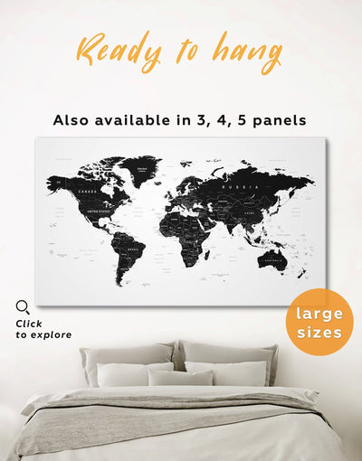 Large Detailed World Map Wall Art Canvas Print - 1 panel Black black and white wall art Black and white world map corkboard
