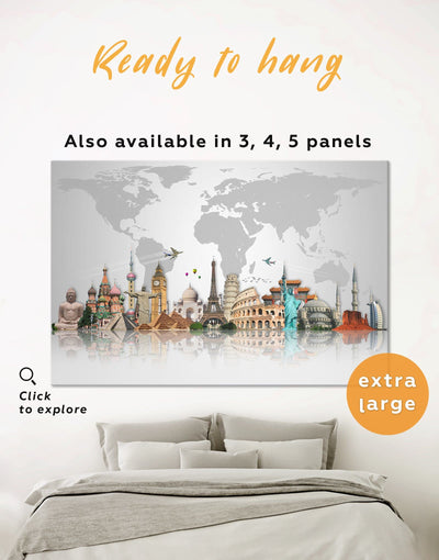 Large World Map Wall Art Canvas Print - 1 panel abstract world map wall art bedroom Contemporary contemporary wall art