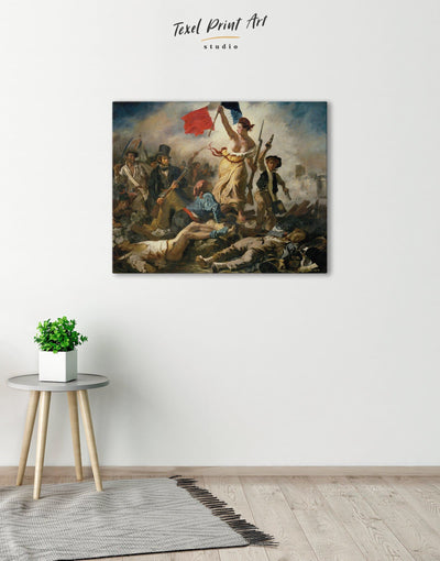 Liberty Leading the People by Eugène Delacroix Wall Art Canvas Print - Canvas Wall Art 1 panel bedroom Delacroix Hallway Living Room