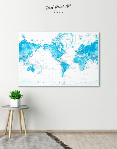 Light Blue World Map with Pins Wall Art Canvas Print - 1 panel bedroom Blue blue and white contemporary wall art