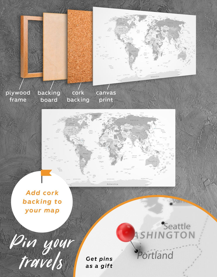 Light Grey Pushpin World Map Wall Art Canvas Print - 1 panel corkboard Grey grey bedroom wall art Living Room