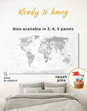 Light Grey Pushpin World Map Wall Art Canvas Print