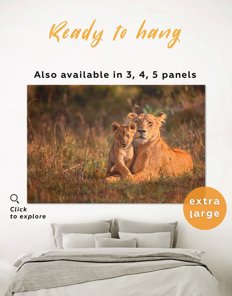 Lioness and Baby Lion Wall Art Canvas Print - 1 panel Animal Animals lion wall art Nature