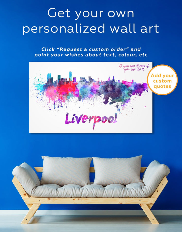 Liverpool Skyline Canvas Wall Art - Canvas Wall Art 1 panel Abstract bedroom City Skyline Wall Art Cityscape