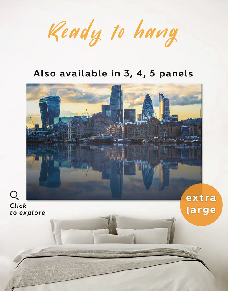 London Cityscape Wall Art Canvas Print - 1 panel bedroom blue City Skyline Wall Art Cityscape