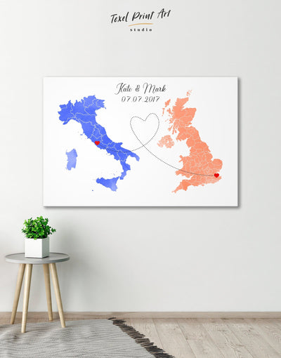 Long Distance Relationships Map Wall Art Canvas Print - 1 panel bedroom Living Room minimalist wall art personalized wall art for couples