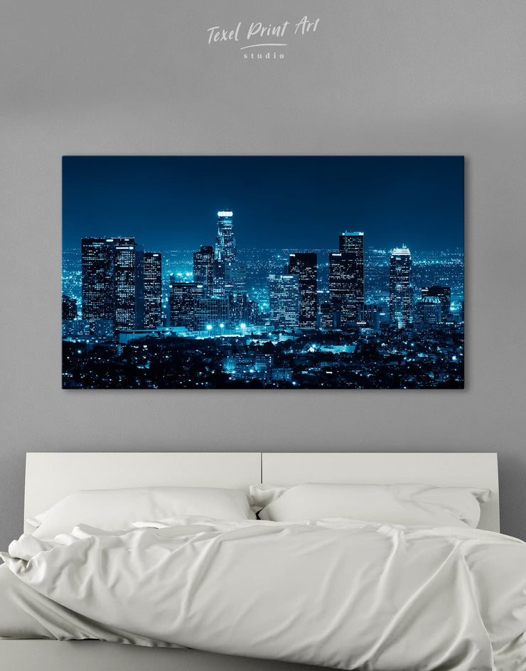 Los Angeles Skyline Wall Art Canvas Print - Canvas Wall Art 1 panel bedroom City Skyline Wall Art Cityscape Hallway