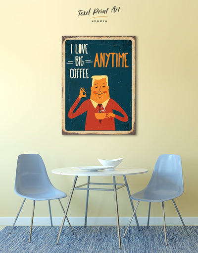 Love Coffee Wall Art Canvas Print - 1 panel Dining room Kitchen Living Room red