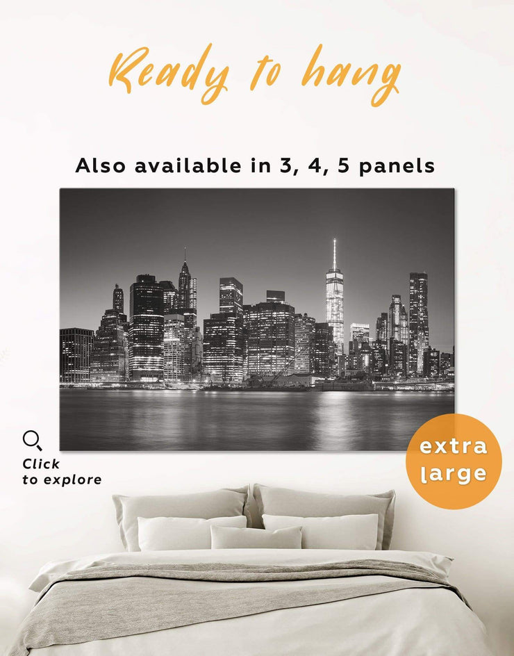 Manhattan Skyline Wall Art Canvas Print - 1 panel bedroom black and white wall art City Skyline Wall Art Cityscape