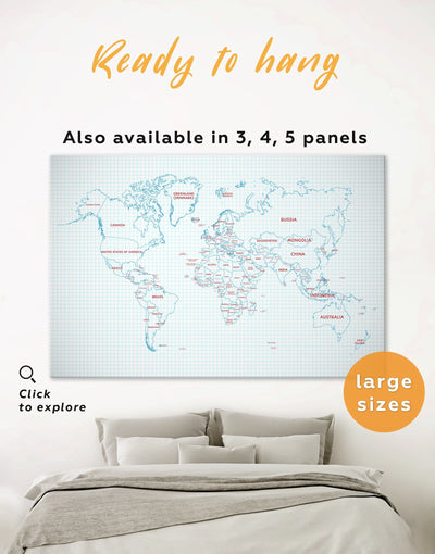 Map of the World Wall Art Canvas Print - 1 panel Abstract map bedroom Dining room Kids room