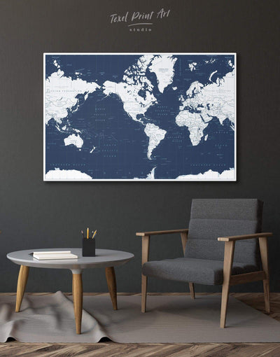 Map On Blue Background Wall Art Canvas Print - 1 panel bedroom Blue blue and white contemporary wall art