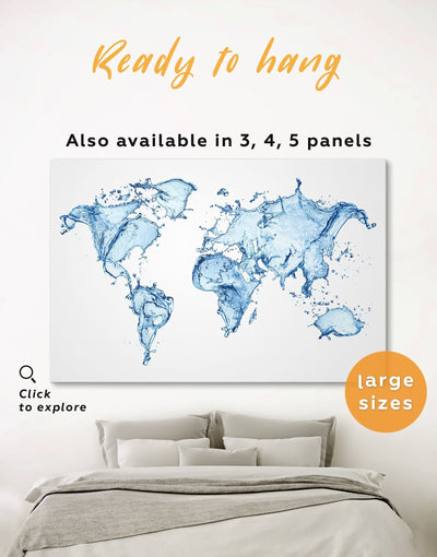 Map Water Wall Art Canvas Print - 1 panel Abstract Abstract map abstract world map wall art aqua wall art