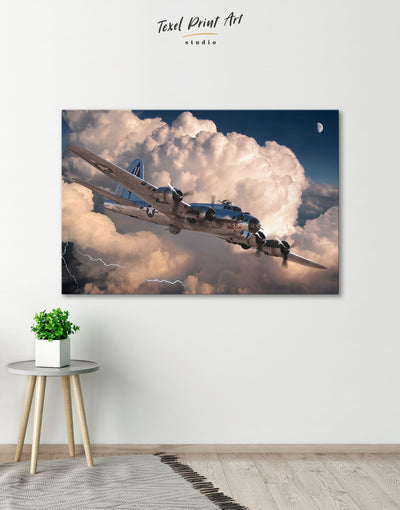 Military Aircraft Wall Art Canvas Print - 1 panel airplane wall art bachelor pad Hallway Living Room