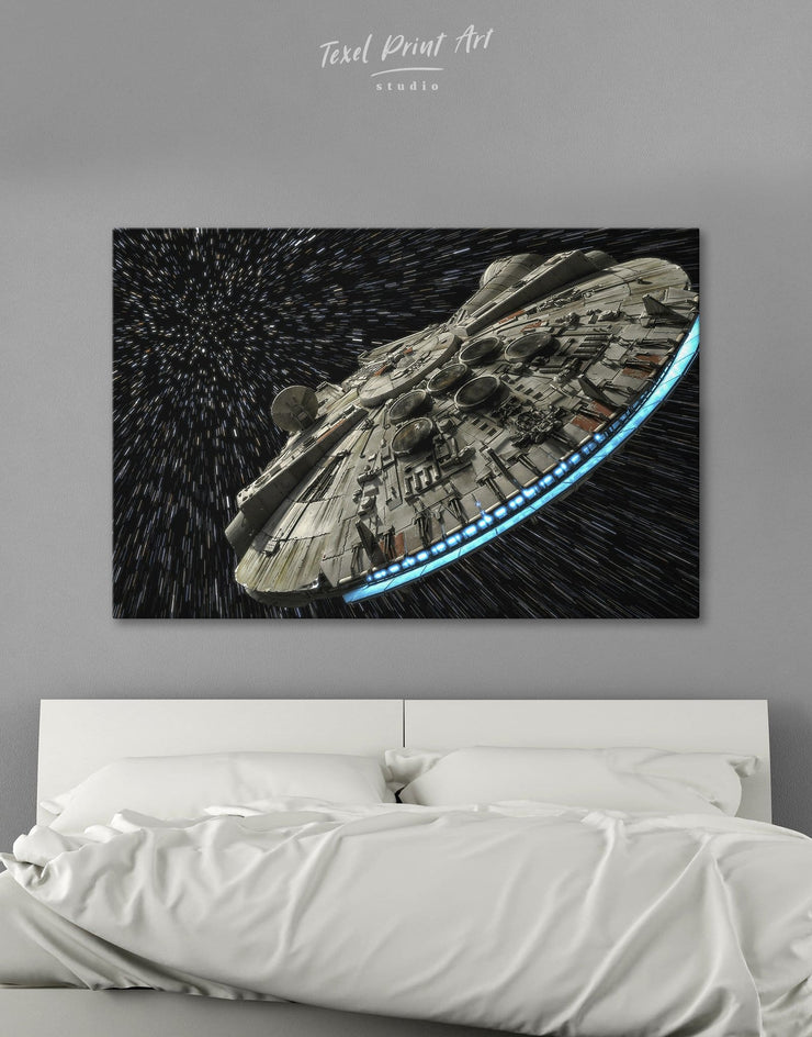 Millennium Falcon Wall Art Canvas Print - 1 panel bedroom black and grey wall art Hallway Kitchen
