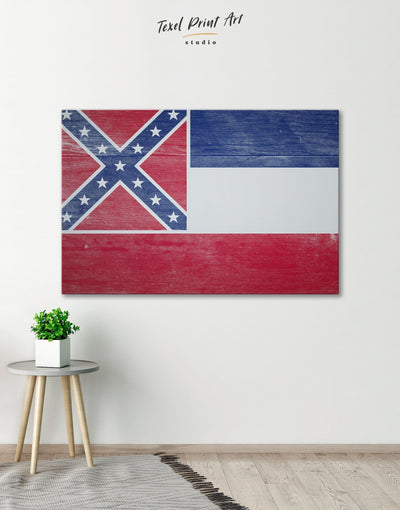 Mississippi Flag Wall Art Canvas Print - Canvas Wall Art 1 panel blue flag wall art Hallway Living Room