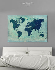 Modern Navy World Map Wall Art Canvas Print