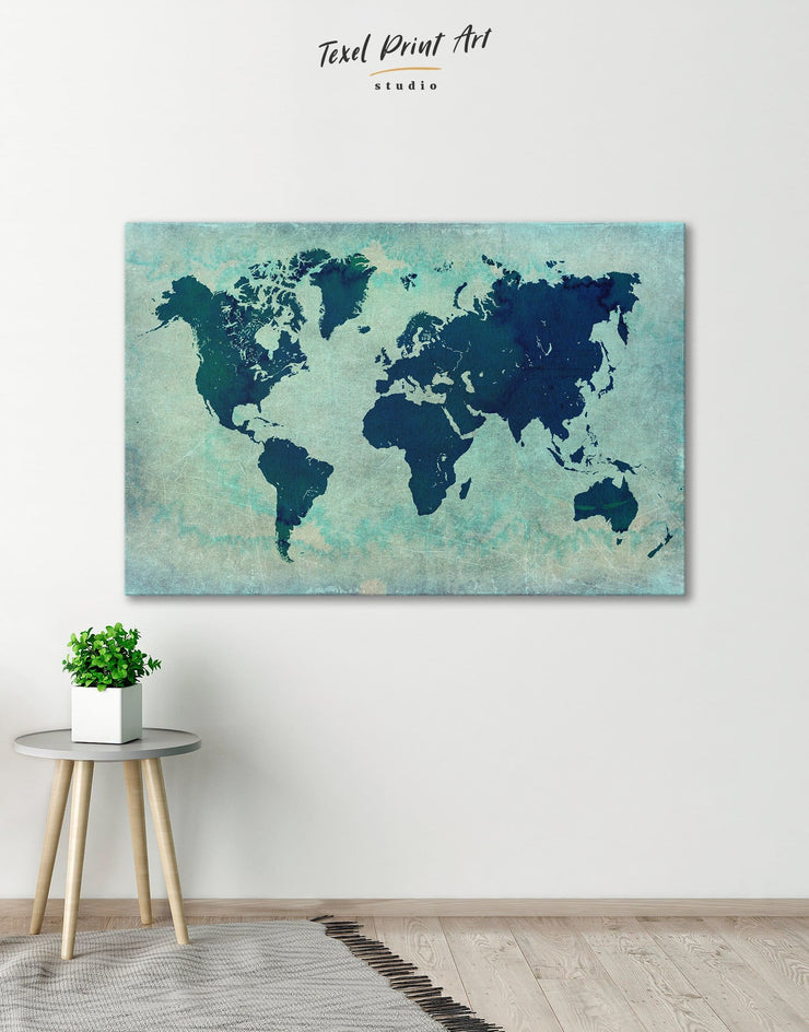 Modern Navy World Map Wall Art Canvas Print - 1 panel Abstract Abstract map bedroom Blue