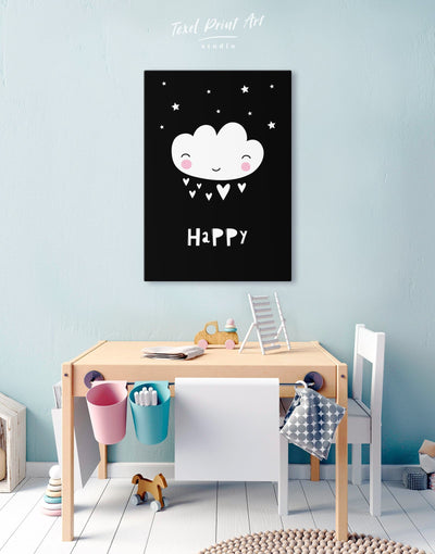 Modern Nursery Art Canvas Print - Canvas Wall Art 1 panel black Kids room kids wall art Nursery